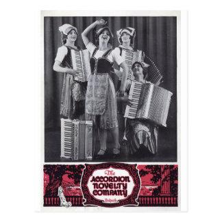 Akkordeon-Mädchen-Vintage Anzeige Postkarte