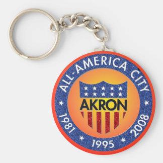 Akron alle Amerika-Stadt Keychain. Schlüsselanhänger