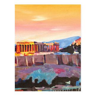 Akropolis Athens Griechenland am Sonnenuntergang Postkarte