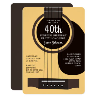 Akustikgitarre-Geburtstags-Party Einladung
