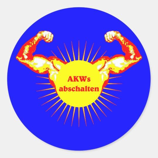 AKW AKWs abschalten Atomkraft Runder Aufkleber