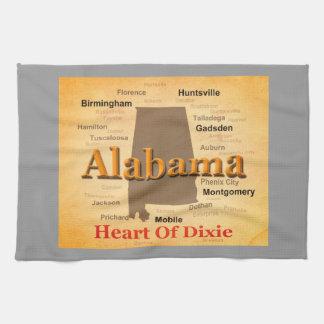 Alabama alterte Karten-Silhouette Geschirrtuch