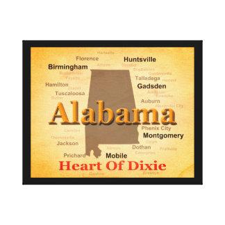 Alabama alterte Karten-Silhouette Leinwanddruck