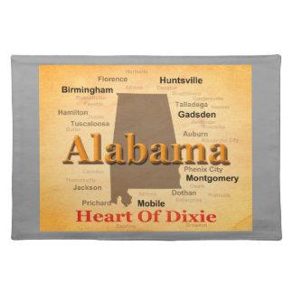 Alabama alterte Karten-Silhouette Tischset