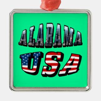 Alabama-Bild und USA-Flaggen-Schriftart Silbernes Ornament