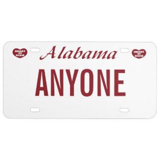 Alabama-Gewohnheits-Kfz-Kennzeichen US Nummernschild