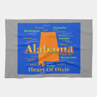 Alabama-Karten-Silhouette-Pop-Kunst Handtuch