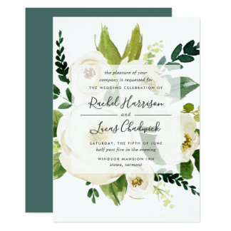 Alabaster-Blumenhochzeits-Einladung Karte