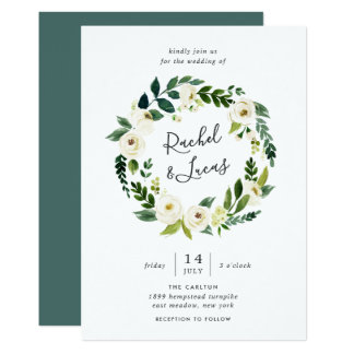 Alabaster-BlumenKranz-Hochzeits-Einladung Karte