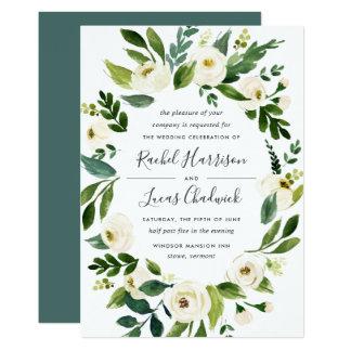 Alabaster-Blumenrahmen-Hochzeits-Einladung Karte