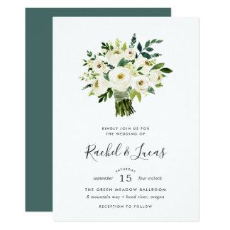 Alabaster-Blumenstrauß-Hochzeits-Einladung Karte