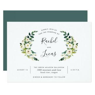 Alabaster-Lorbeer-Hochzeits-Einladung Karte
