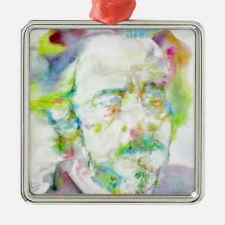 Alan-Watt - Aquarellporträt Quadratisches Silberfarbenes Ornament
