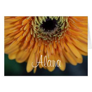 Alana orange Blumen-Namen-Gruß-Karte Karte