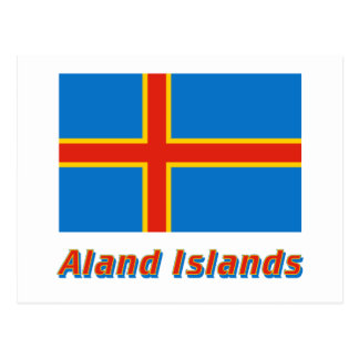 Aland Insel-Flagge mit Namen Postkarten