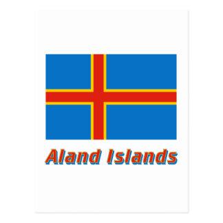 Aland Insel-Flagge mit Namen Postkarte