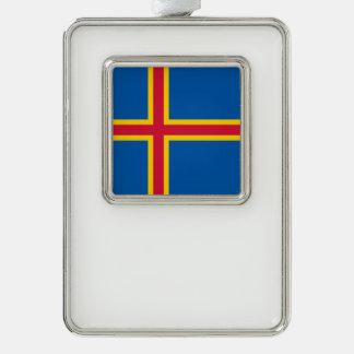 Aland Insel-Flagge Rahmen-Ornament Silber