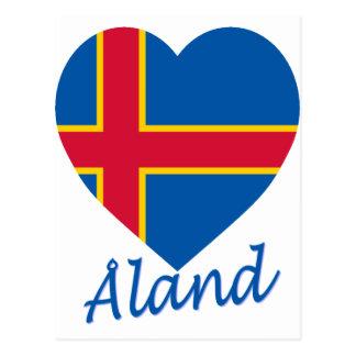 Aland Insel-Flaggen-Herz Postkarte