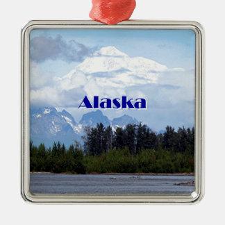 Alaska: Denali, Wald, Fluss, Berge 1 Silbernes Ornament