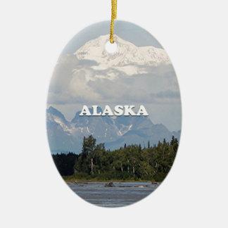 Alaska: Denali, Wald, Fluss, Berge, USA 3 Keramik Ornament