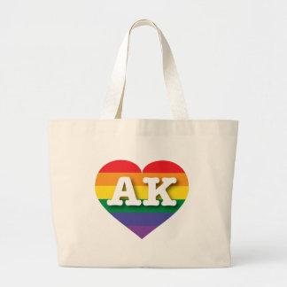 Alaska-Gay Pride-Regenbogen-Herz - große Liebe Jumbo Stoffbeutel