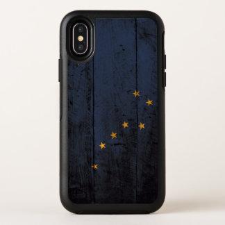 Alaska-Staats-Flagge auf altem hölzernem Korn OtterBox Symmetry iPhone X Hülle