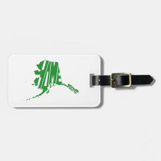 Alaska-Staats-Form-Zuhause-Wort-Kunst-Grün Kofferanhänger