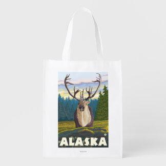 AlaskaCaribou in der wilden Vintagen Reise Einkaufstaschen