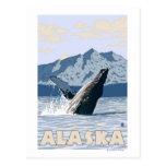 AlaskaHumpback Wal-Vintages Reise-Plakat Postkarten