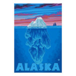 AlaskaIceberg Vintages Reise-Plakat