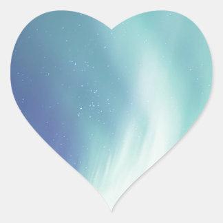 Alaskische Aurora borealis Lichter im nächtlichen Herz-Aufkleber