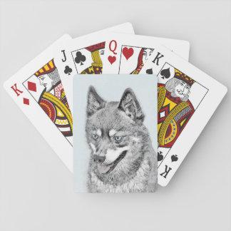 Alaskische Klee Kai Malerei - niedliche Spielkarten