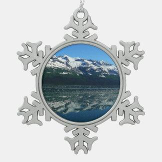 Alaskische Küstenlinien-schöne Natur-Fotografie Schneeflocken Zinn-Ornament
