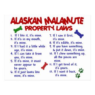 ALASKISCHER MALAMUTE Eigentums-Gesetze 2 Postkarte