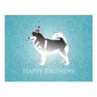 Alaskischer Malamute-Geburtstags-Entwurf Postkarte