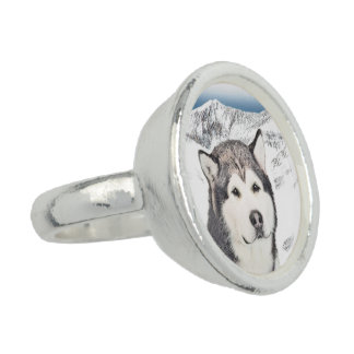 Alaskischer Malamute-Malerei - niedliche Ring