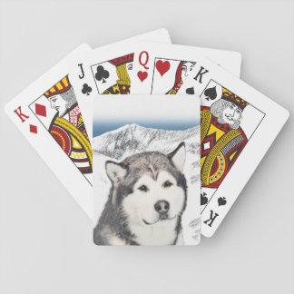 Alaskischer Malamute-Malerei - niedliche Spielkarten