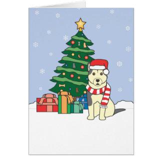 Alaskischer Malamute-und Weihnachtsbaum Karte