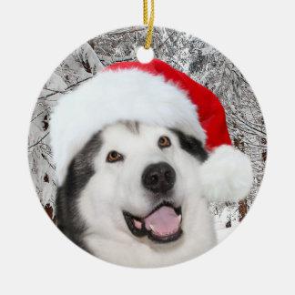 Alaskischer Malamute-Weihnachten Keramik Ornament