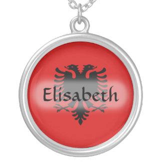 Albanien-Flagge + Namenshalskette Halskette Mit Rundem Anhänger