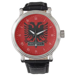 Albanien-Flagge Uhr