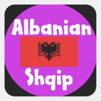 Albanien-Sprache und Flaggen-Entwurf Quadratischer Aufkleber