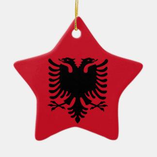 Albanische Flagge auf Keramik-Stern-Anhänger Weihnachtsornament