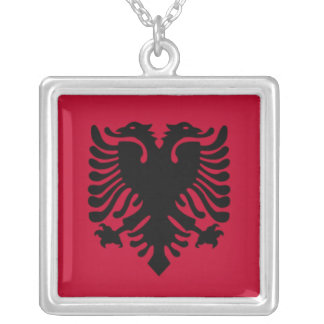 Albanische Flaggen-Halskette Halskette Mit Quadratischem Anhänger