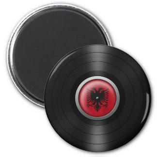 Albanische Flaggen-VinylRekordalbum-Grafik Runder Magnet 5,1 Cm