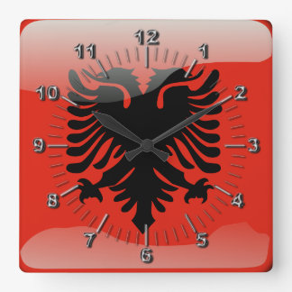 Albanische glatte Flagge Quadratische Wanduhr