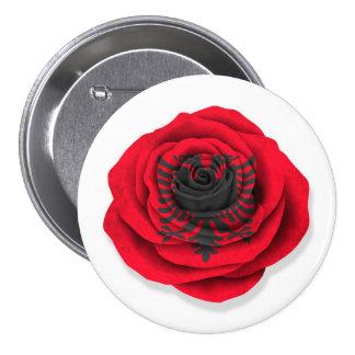 Albanische Rosen-Flagge auf Weiß Button
