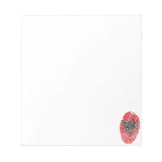 Albanische Touchfingerabdruckflagge Notizblock
