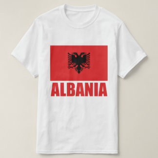 Albanischer Flaggen-Rot-Text T-Shirt