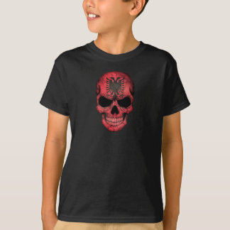 Albanischer Flaggen-Schädel T-Shirt